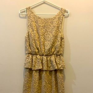 Gorgeous Gold Everly Peplum cocktail dress